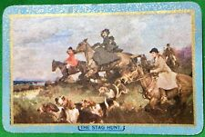 Playing Cards 1 Swap Card - Old Vintage LADIES Hunting Horses Dogs THE STAG HUNT