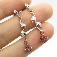 925 Sterling Silver Gold Plated Real Ruby Gemstone Diamond Dangling Earrings
