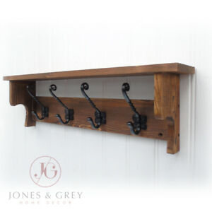 ANTIQUE RUSTIC BROWN WOODEN WALL COAT RACK WITH SHELF & VINTAGE CAST IRON HOOKS