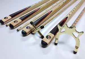 Full Ash WOODEN Pool Snooker Billiard Cue SET 2x Cues + BRASS Rest & Spider