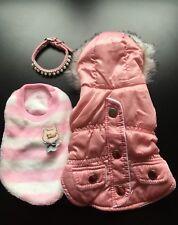 Chihuahua vestiti Gift Set Lavoro Lotto Cane Giacca Maglione Collare Cucciolo Ragazza Rosa XXS