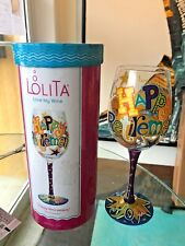 Lolita Happy Retirement Artisan Painted Wine Glass Gift New in Box