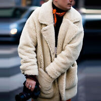 Men Fluffy Coat Fleece Fur Jackets Teddy Bear Winter Warm Outerwear Hoodies Coat