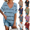 Women Casual Stripe Print Short Sleeve T-Shirt Ladies Tunic Blouse Pullover Tops