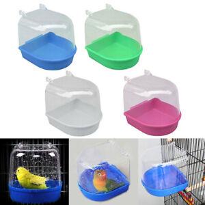 Plastic Bird Water Bath Box Bathtub Parrot For Parakeet Hanging Bowl_ TC