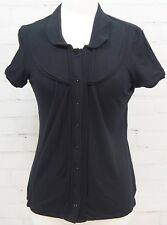 TAHARI Short-Sleeve Heavy Knit Fitted Blouse Button-Down Top - Size Small Black