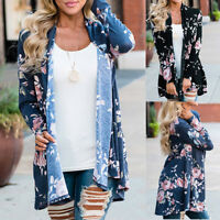 Women Ladies Floral Jacket Kimono Overcoat Casual Cardigan Plus Size Trench 2019