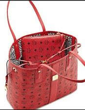 ��100% Authentic  NEW MCM Red Liz Tote W Pouch Bag Purse Handbag
