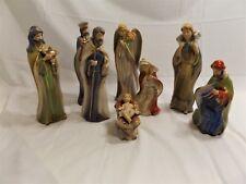 "Vintage Porcelaln 7 Piece Christmas Nativity Set, Wise Men 10"" Tall, Beautiful"