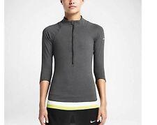 NIKE 546075 Tee Shirt Haut Tennis Baseline Half-Zip Gris Foncé Taille S *NEUF*