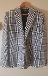 Ralph Lauren Glen Plaid Black White Women's Jacket Blazer Sz 12 Cotton Poly Wool
