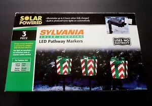 Sylvania Solar Lighting Christmas Presents LED Pathway Markers - NIB