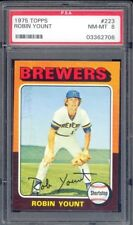 1975 TOPPS #223 ROBIN YOUNT PSA 8 NM-MT HOF RC ROOKIE CARD MILWAUKEE BREWERS