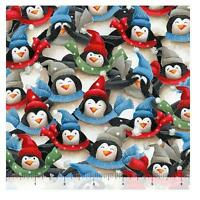 Christmas Fabric - Just Chillin Penguins in Scarves - Quilting Treasures YARD