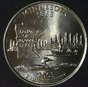 2005-D 25C State Quarter Minnesota BU CN CLAD 21ct0201 70 Cents Shipping