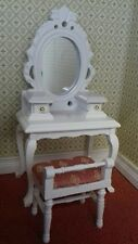 Dolls House Miniatures 1/12th Scale White Dressing Table & Chair DF1515 New *
