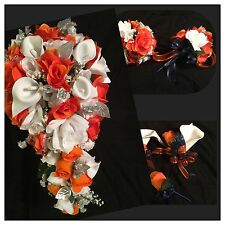 23 Piece Package Orange White Calla Lily Cascade Silk Wedding Bridal Bouquet