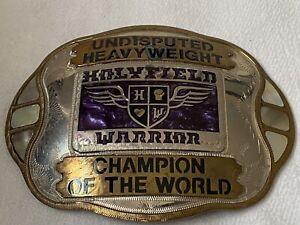 Vtg Large Evander Holyfield Warrior Belt Buckle Undisputed HeavyWeight Champion