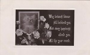 ANPC154) PC RP, May Fortunes Favour still befriend you, cat with roses, embossed