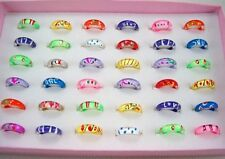 Wholesale Lot 100pcs Mixed Style Thin Little Resin Lucite Children's Rings