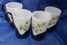Vintage set of 4 retro Phoenix mug Pyrex & plastic holder camper van camping