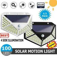 100 LED Solar Power Light PIR Motion Sensor Garden Security Waterproof Wall Lamp