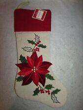 "Holiday Time 20"" 3d Poinsettia Christmas Stocking W Felt/burlap & Embroidery"