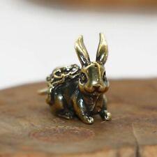 lucky rabbit brass keyring figures miniature animal pendant home ornament gift