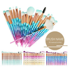 Diamond Unicorn 20PCS Eyeshadow Eyebrow Blending Brush Set Eye Make-up Brushes