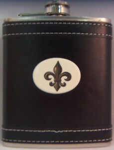 Barlow Leather Pocket Flask Stainless Steel 7 oz Fleur de Lis 272461c French NEW