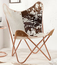 Butterfly Sessel Stuhl TEXAS echt Fell braun weiss Loungesessel Esszimmer Design