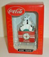 Coca-Cola Soda Bear & Coke Cooler Advertising Mini Clock #CCM65 New In Box Nice!