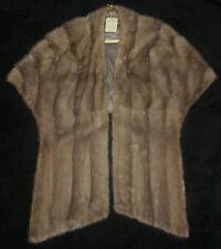 Womens Vintage Mink Fur Stole Exquisite Light Brown 1960 Original Tag Excellent