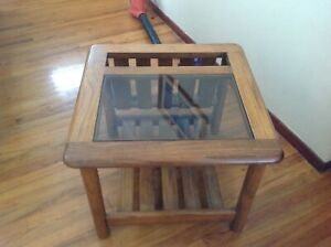 Vintage Glass End Side Squared Table Mid century modern