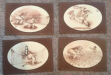 Vtg  Gary Patterson set of 4 Tennis Player Laminated Placemats Funny