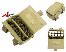 Molle Tactical 20 Round Shotgun 12 Gauge Shell Ammo Pouch Holder Waist Bag Khaki