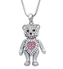 Pink Heart Teddy Bear Pendant Necklace Birthday Gift for Girl Friend  n2093p