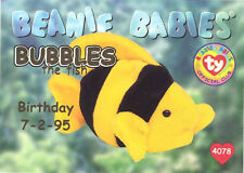 TY Beanie Babies BBOC Card - Series 1 Birthday (GOLD) - BUBBLES the Fish - NM/M