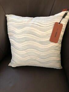 New MISSONI Home Linen Blend Iconic Wave Pillow (16 x16) Light Blue/ White $198