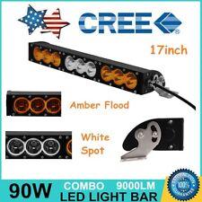 Slim 17Inch 90W Led Light Bar Combo Lamp 4WD Offroad White Amber Warn Emergency