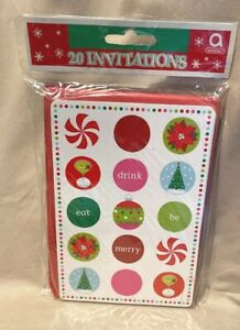 Holiday Buzz Peppermint Martini Tree Winter Christmas Cocktail Party Invitations