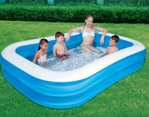 Giant Rectangular Paddling Pool Family Summer Inflatable Outdoor Kids Family Fun