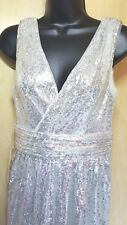 Kate Kasin NWT Silver Sequin Long Evening Dress 10 Formal Party Wedding Pageant