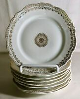 "8 O.& E.G. Royal Austria Gold Decorated Porcelain 6 1/4"" Bread And Butter Plates"