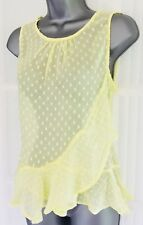 BNWT NEW LOOK 14 yellow spot frill sheer longline sleeveless tunic party top