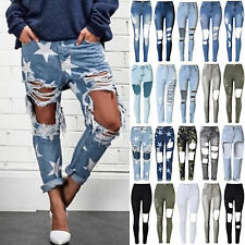 UK Womens Celeb Stretch Ripped Frayed Skinny Ladies High Waist Denim Pants Jeans