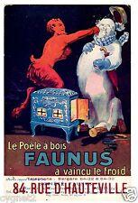 POSTCARD FRENCH ADVERTISING FAUNUS WOOD STOVE FAUN BEATS SNOWMAN