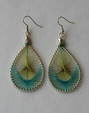 String Tear Drop Vintage Embroidery Peruvian Dangle Earrings - Boho/Hippy/Ethnic