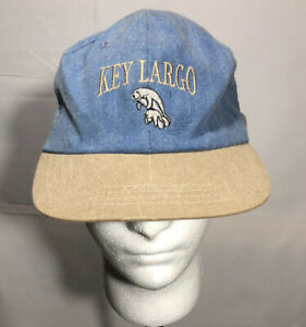 Key Largo Manatee Hat Cap Florida Blue Tan Hat Made In USA Embroidery