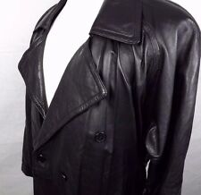 Haggar Real Leather Trench Coat Size Medium Black Double Breasted Belted Vented